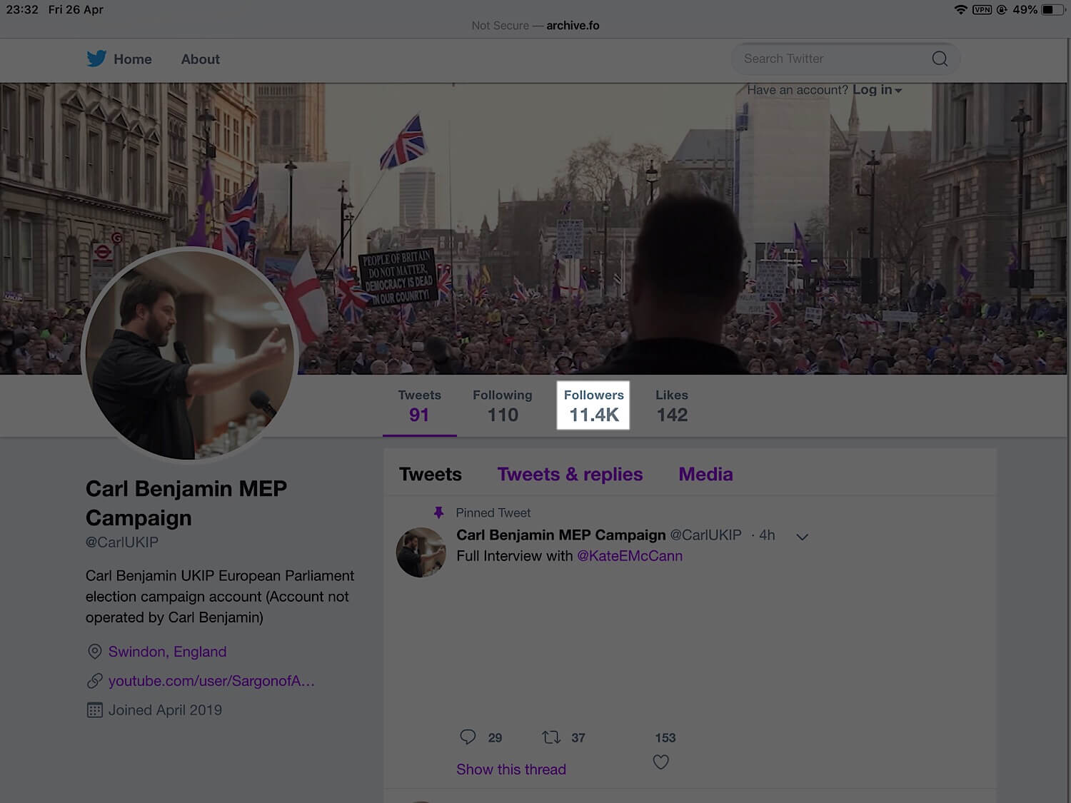 The archived version of Carl Benjamin's MEP campaign Twitter account before it was suspended.