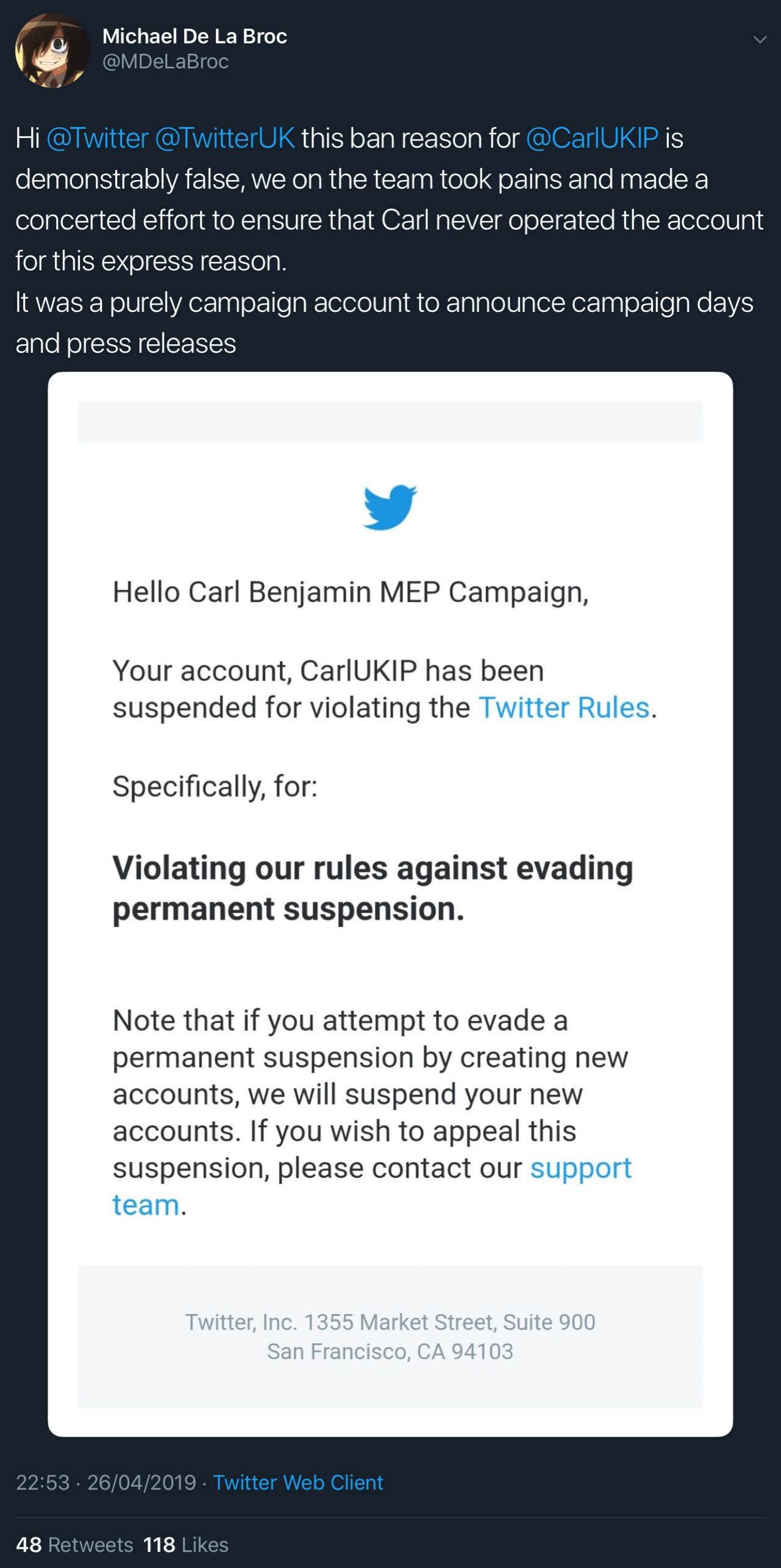 Twitter's statement on why Carl Benjamin's MEP Campaign account was removed.