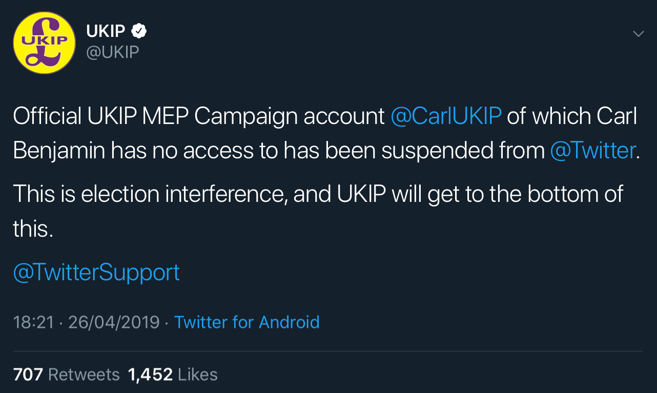 UKIP's statement on Carl Benjamin's MEP campaign account suspension.