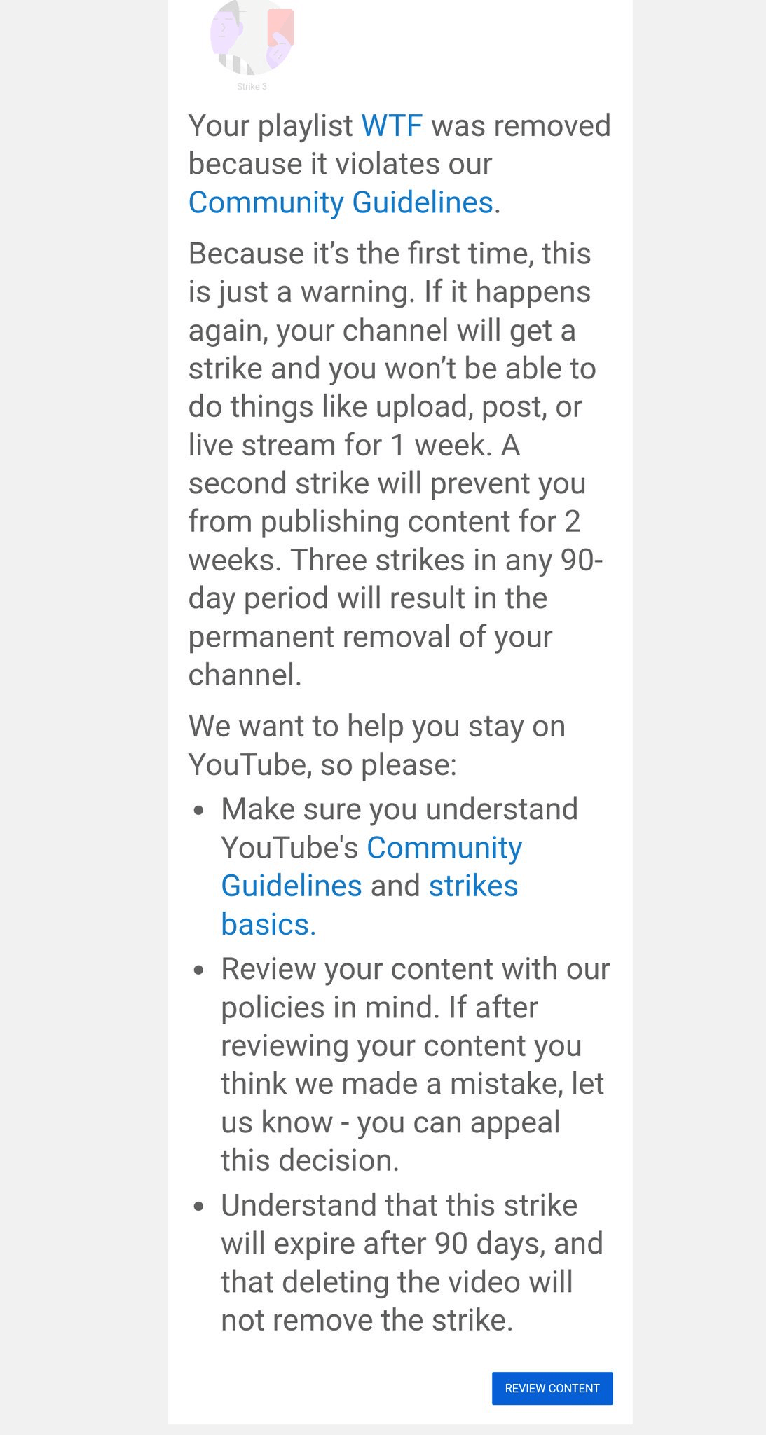 The email Sheila Allen received from YouTube informing her of the community guidelines warning.
