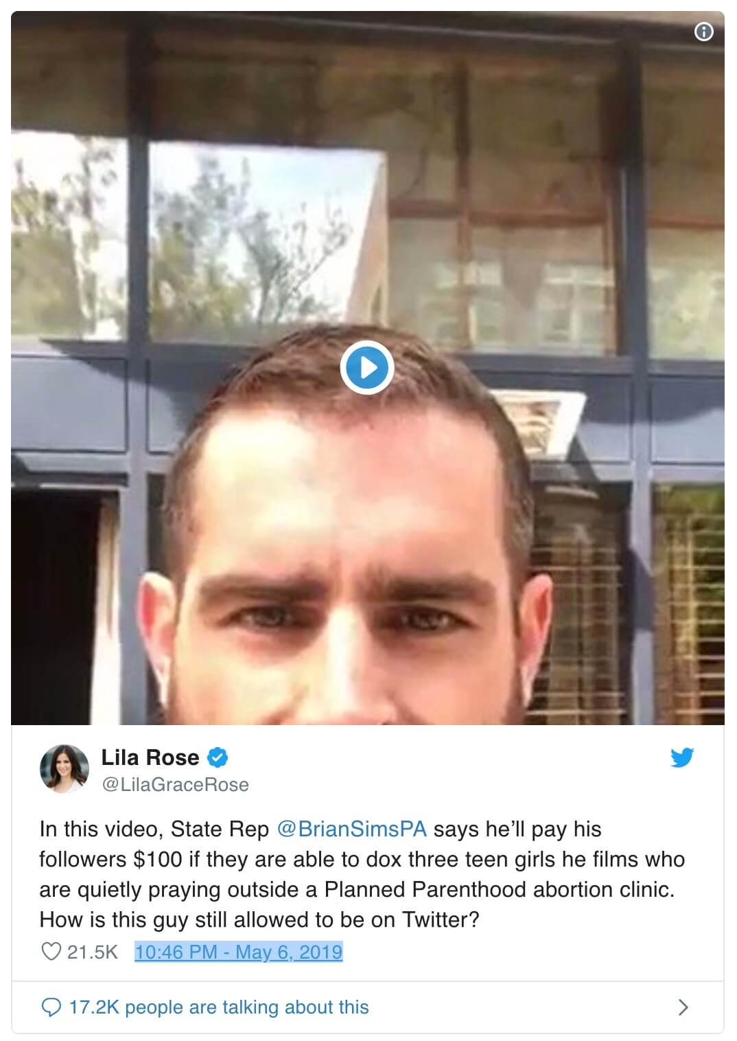 PA Representative Brian Sims's Twitter doxing attempt
