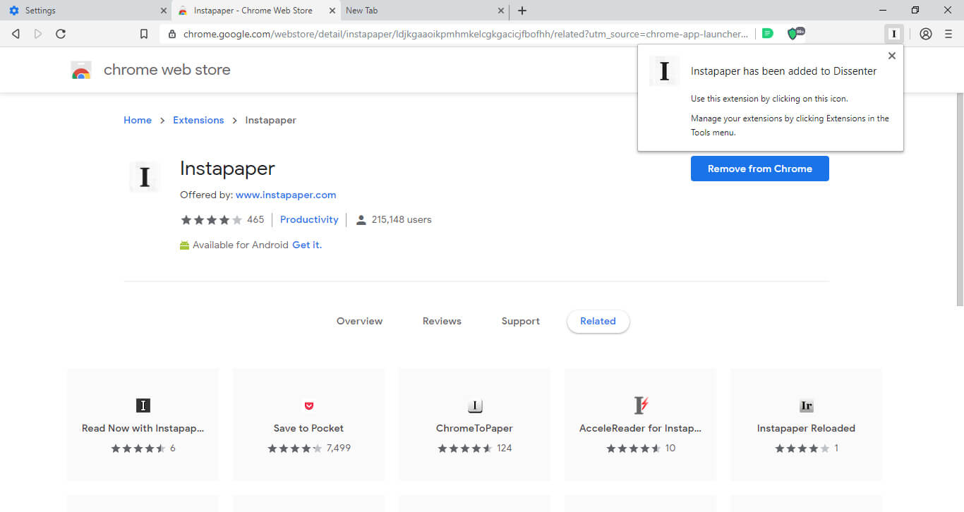 The Instapaper extension in the Dissenter browser.