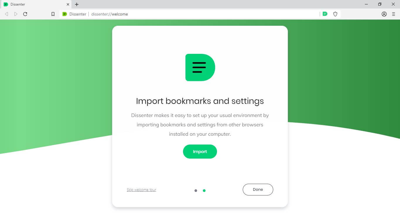 """The Dissenter browser """"Import bookmarks and settings"""" screen."""