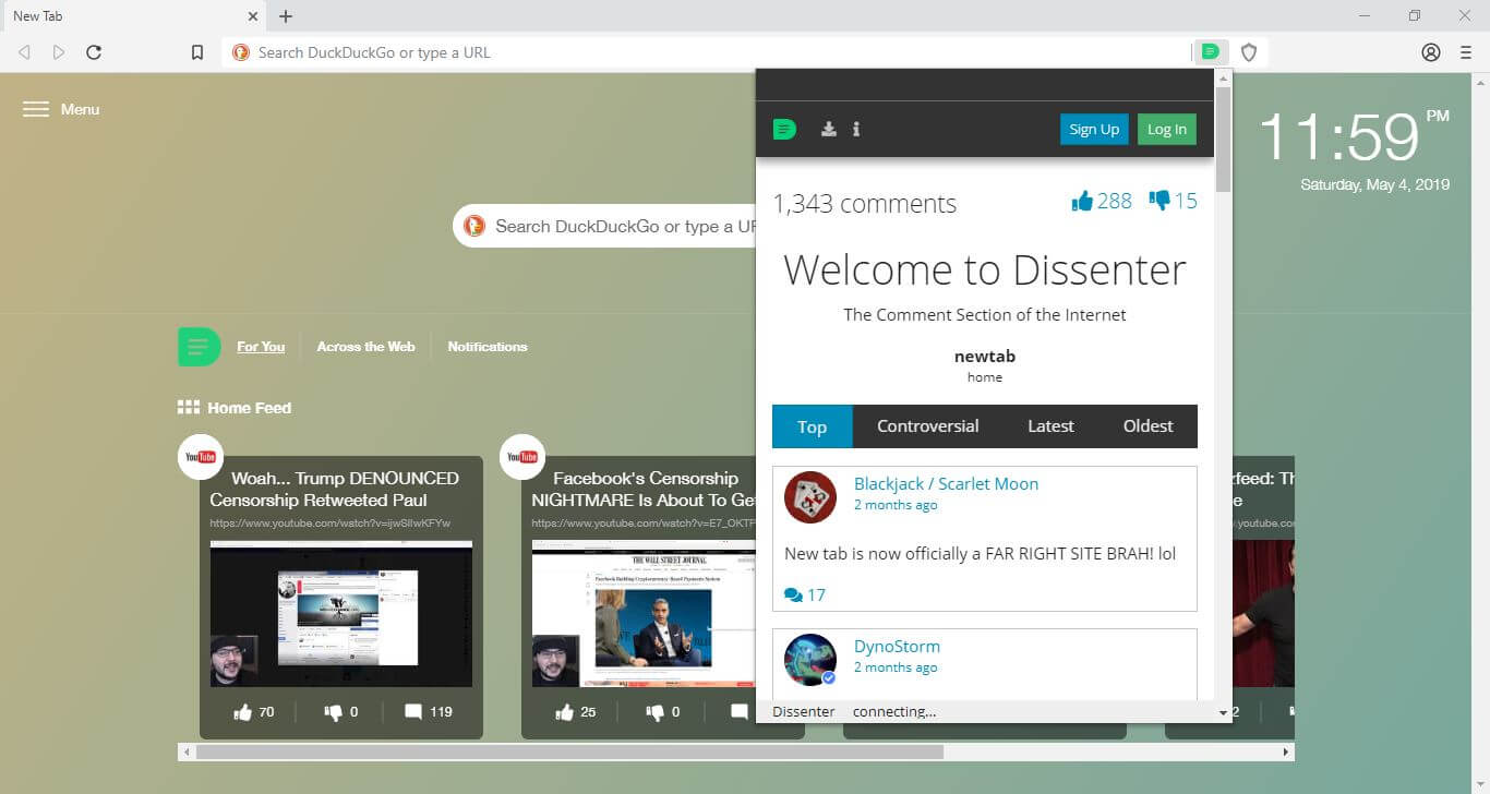 The Dissenter comments extension in the Dissenter browser.
