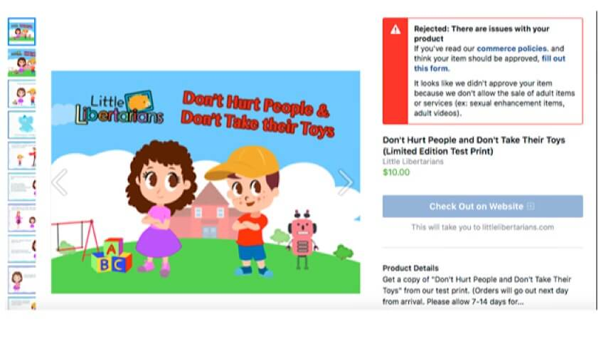 """A Facebook message saying that the Facebook Store product listing for the """"Don't Hurt People and Don't Take Their Toys"""" book has been rejected for selling """"adult items or services."""""""