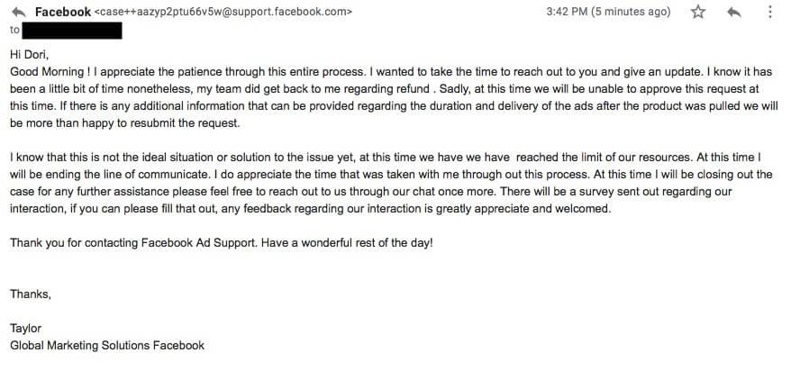 The Facebook message Dorit Goikhman sent to Facebook requesting a refund.