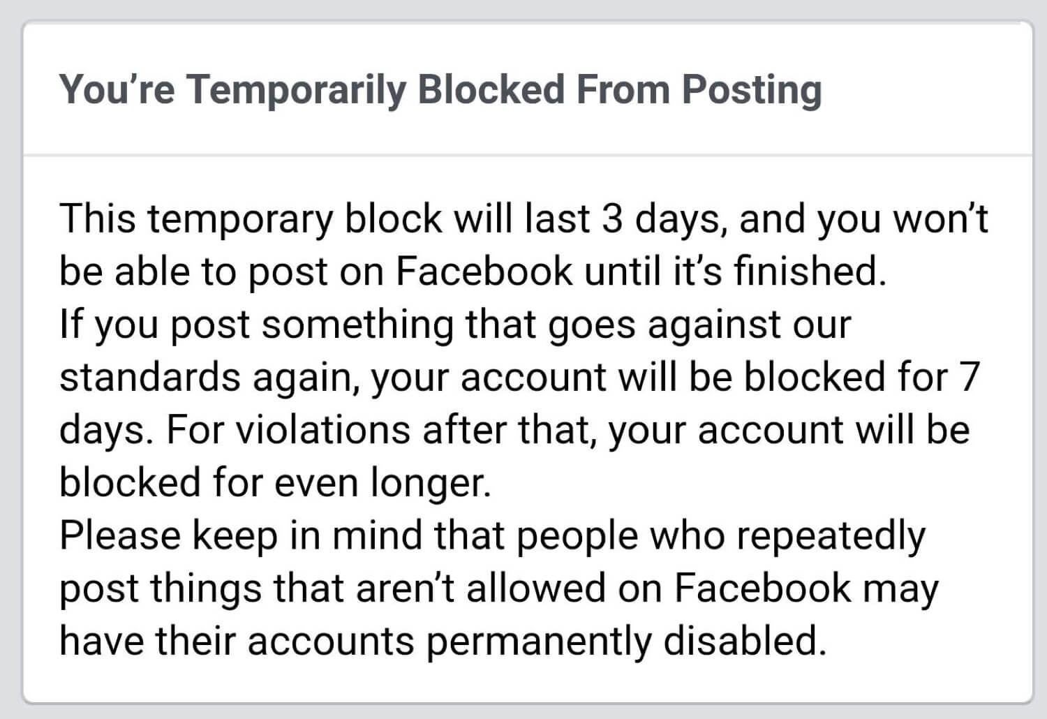 James Hunter's post that was taken down for supposedly violating Facebook's community standards.