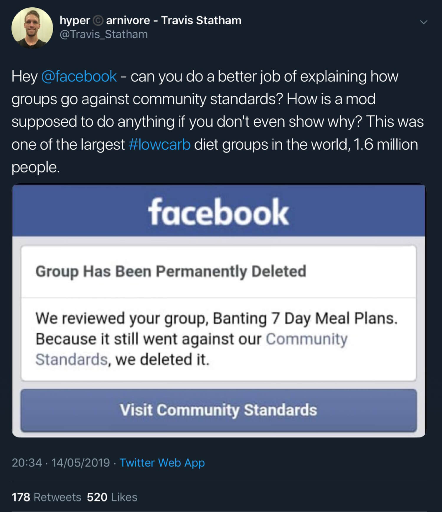 Travis Statham confirming that Facebook has deleted the Banting 7 Day Meal Plans group.