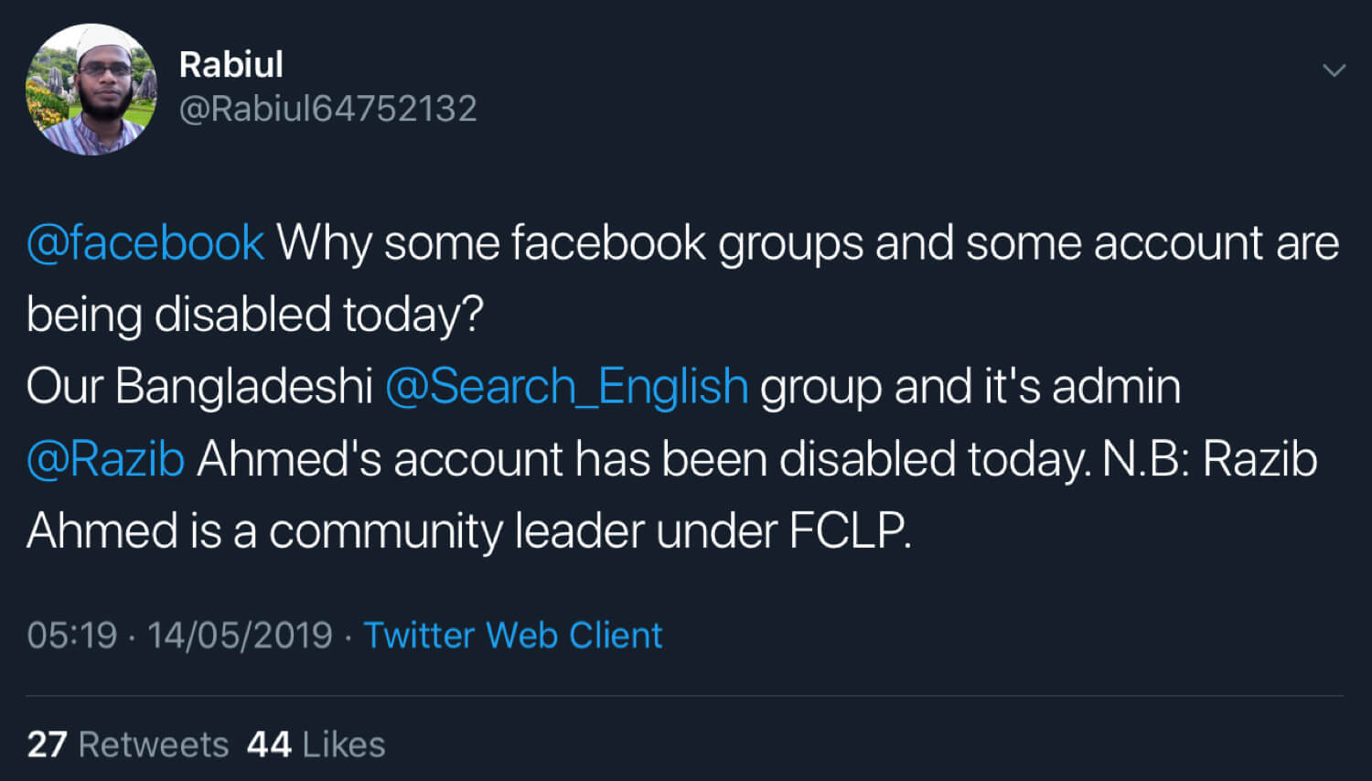 Rabiul announcing that Facebook has deleted the Search English group.