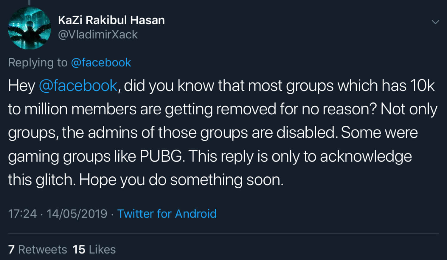 KaZi Rakibul Hasan announcing that Facebook has deleted multiple groups and disabled the Facebook accounts of group admins.