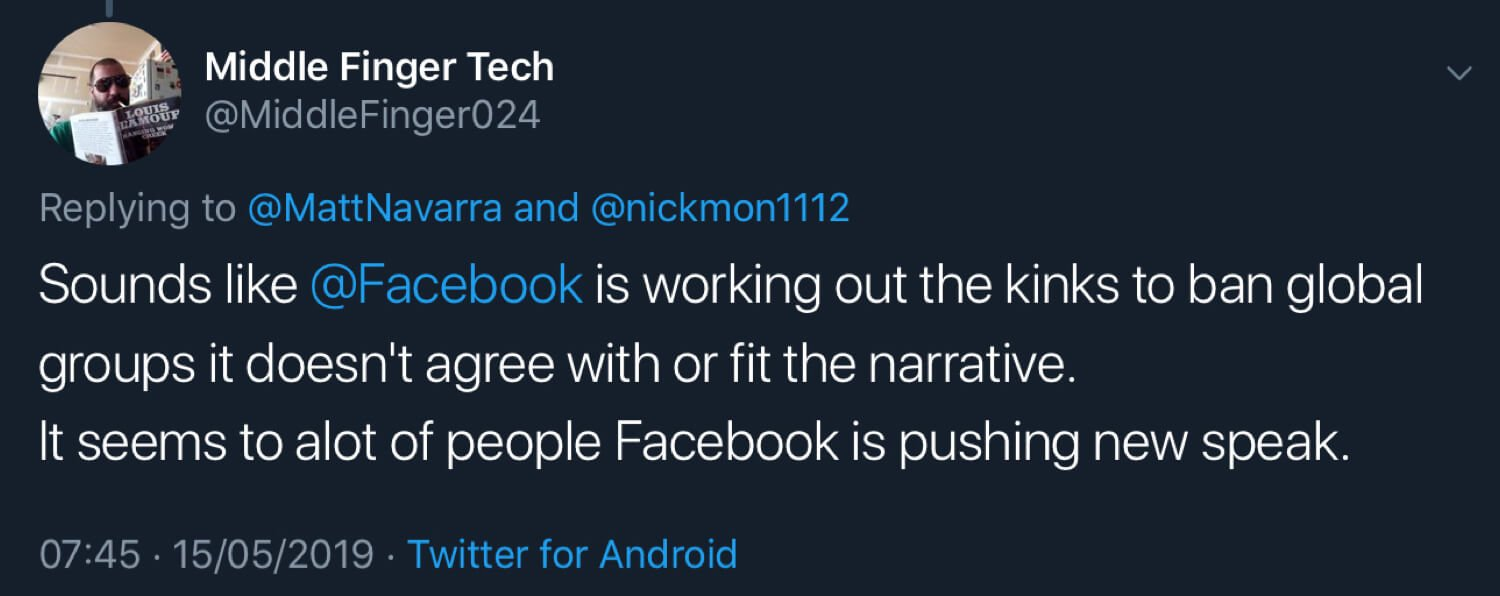 Middle Finger Tech suggesting Facebook is banning groups it doesn't agree with.