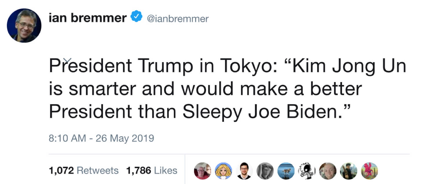 An archived tweet from Ian Bremmer containing a fabricated quote from President Trump.