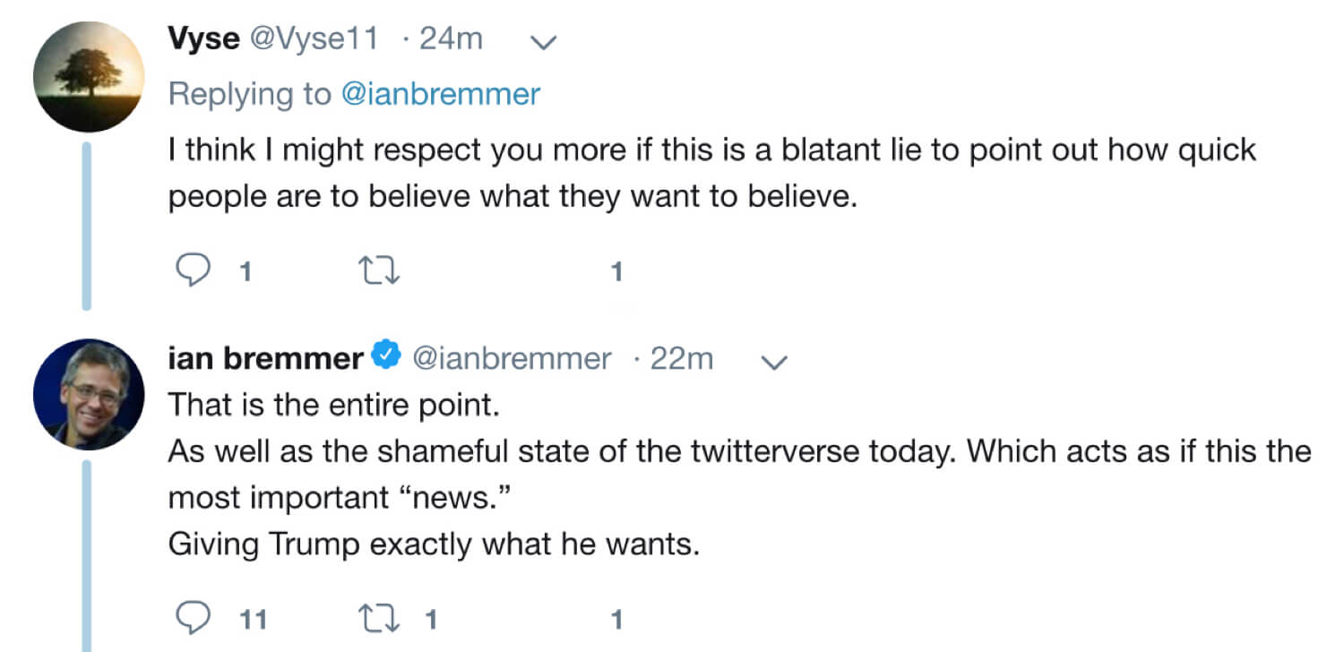 An archived tweet from Ian Bremmer admitting that the Trump quote is fabricated.