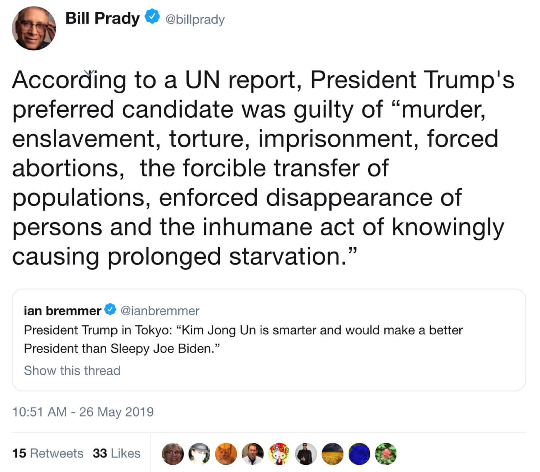 Bill Prady sharing the fake Trump quote on Twitter.