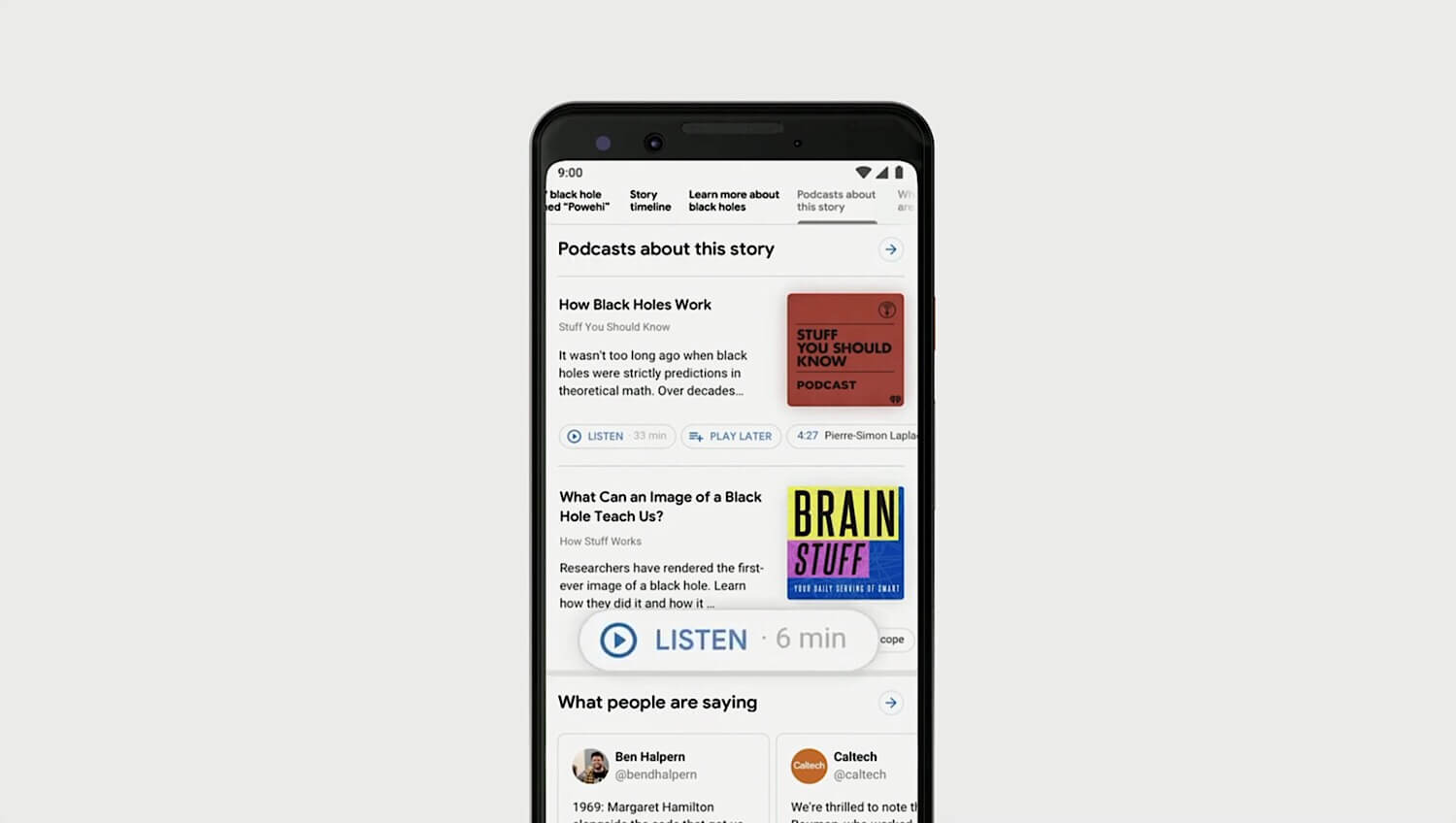 """The """"Listen"""" button that appears below podcast episodes in Google search."""