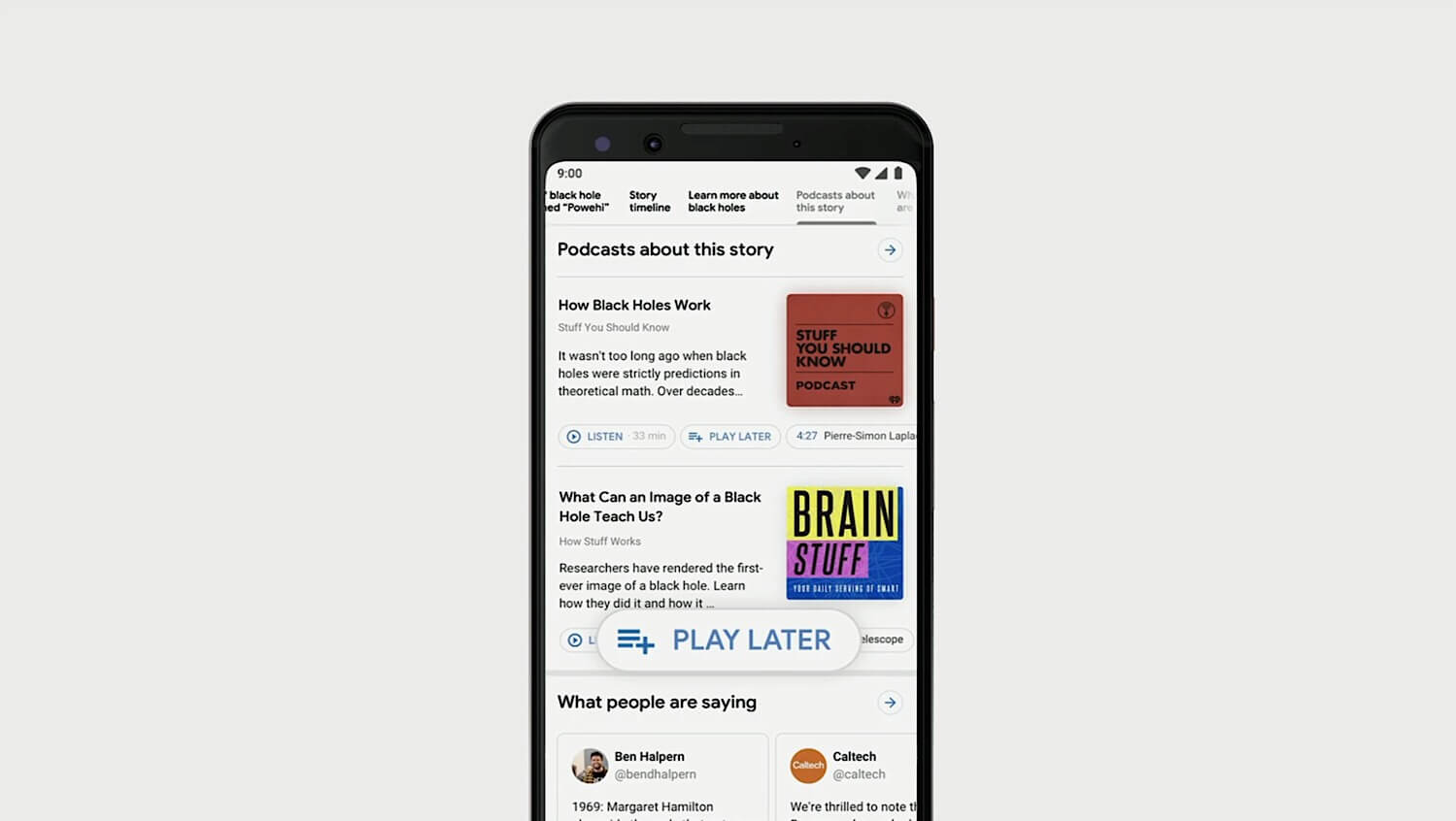 """The """"Play Later"""" button that appears below podcast episodes in Google search."""