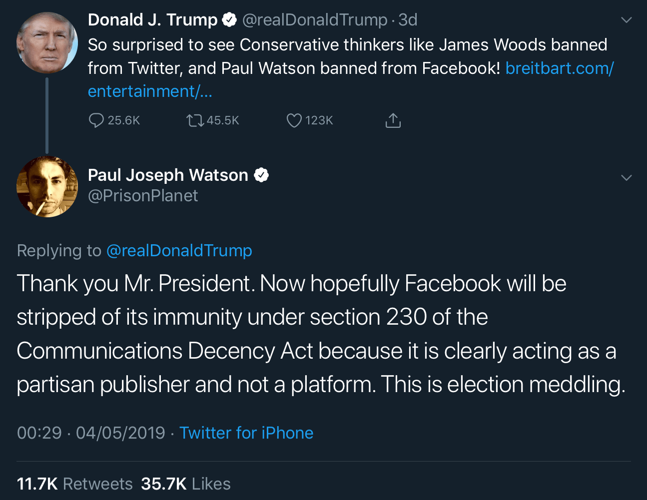 Paul Joseph Watson replying to President Trump on Twitter and accusing Facebook of election meddling.