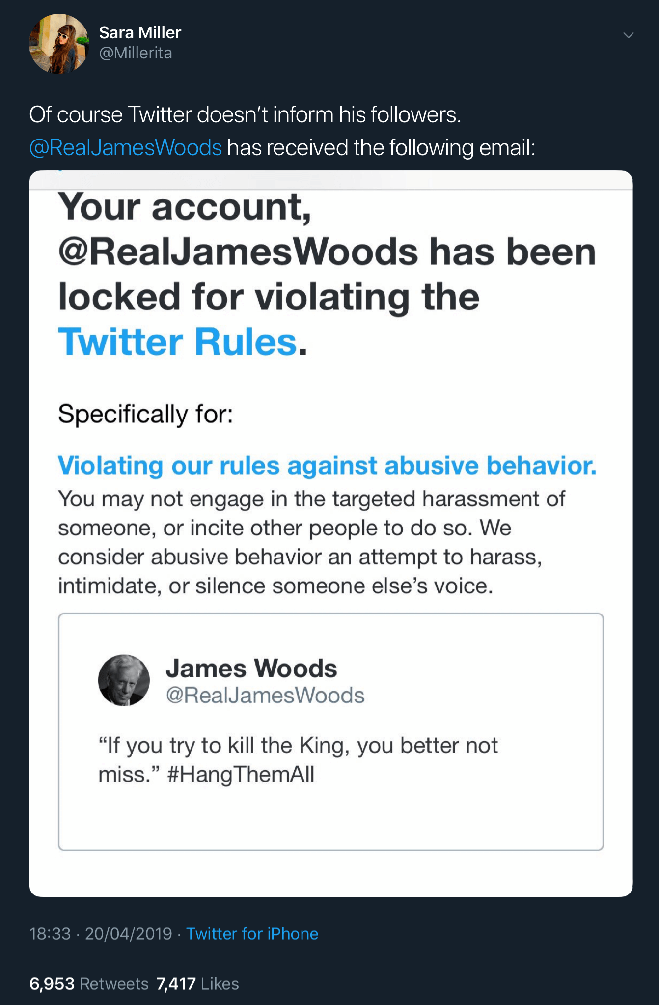 James Woods' girlfriend Sara Miller announcing that he's been locked out of his Twitter account.