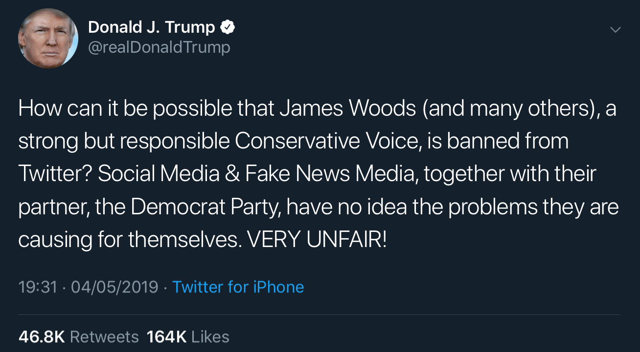 President Trump criticizing Twitter for its suspension of James Woods.