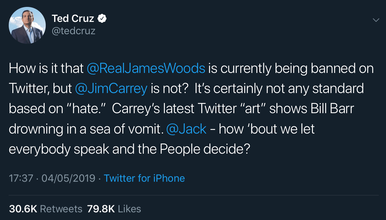 Senator Ted Cruz criticizing Twitter for its double standard when suspending James Woods.
