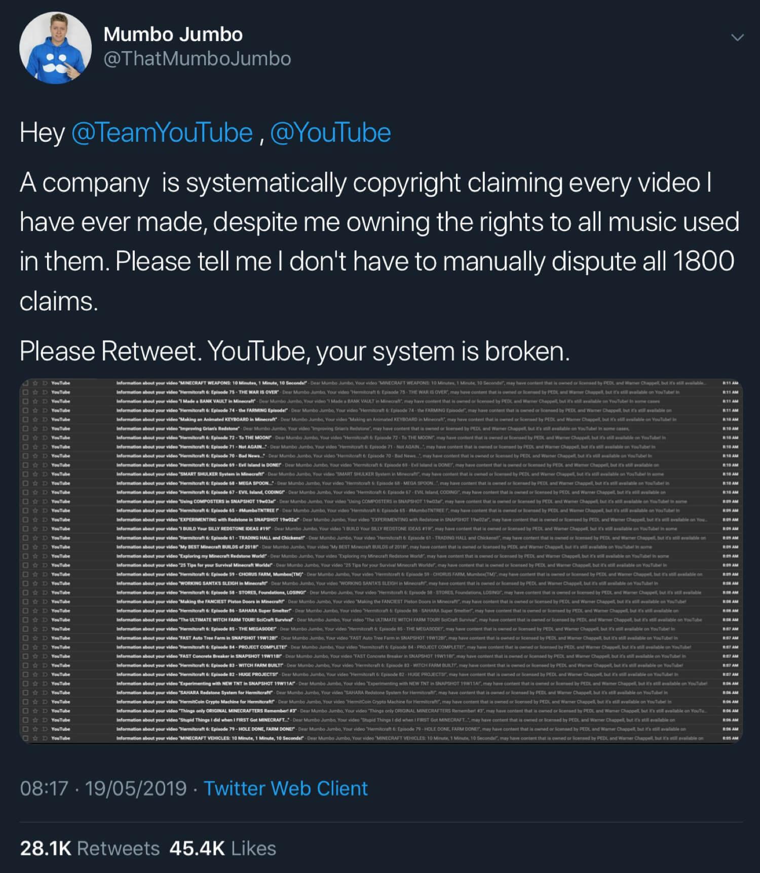 Some of the copyright claim emails YouTube sent to Mumbo Jumbo.