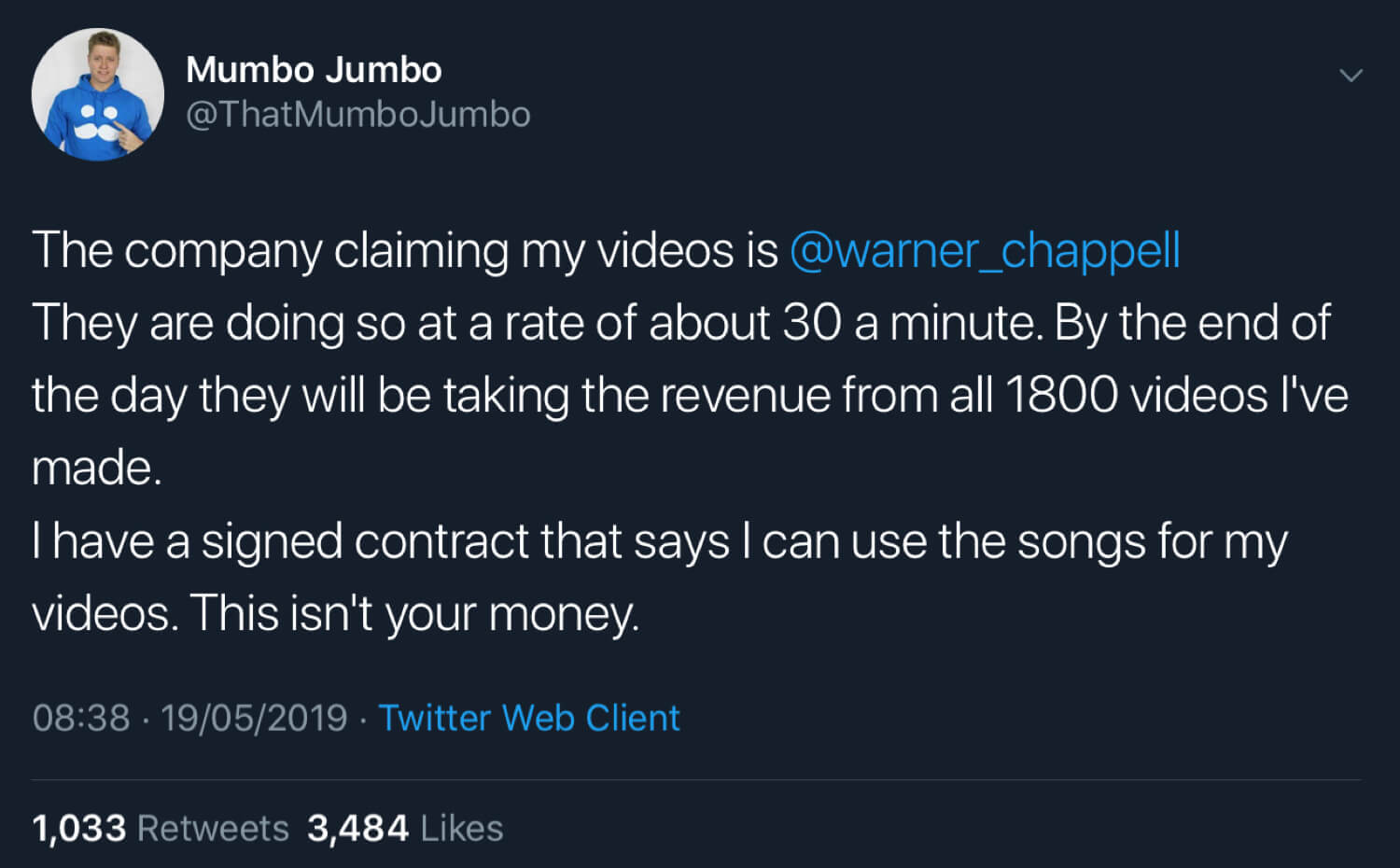 Mumbo Jumbo saying that he has a signed contract allowing him to use the songs in his videos.