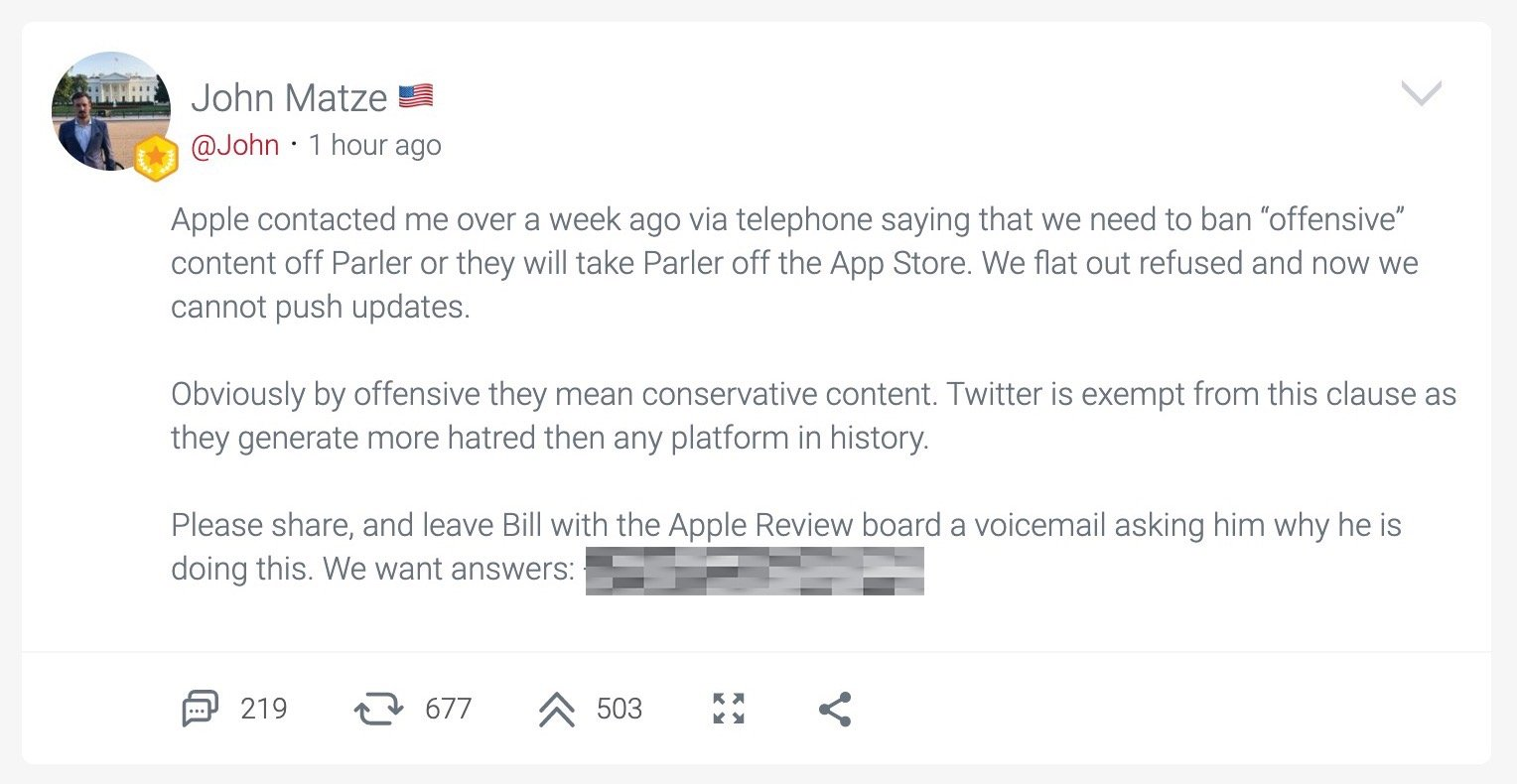 The post from John Matze claiming that Apple is preventing Parler from updating its app.