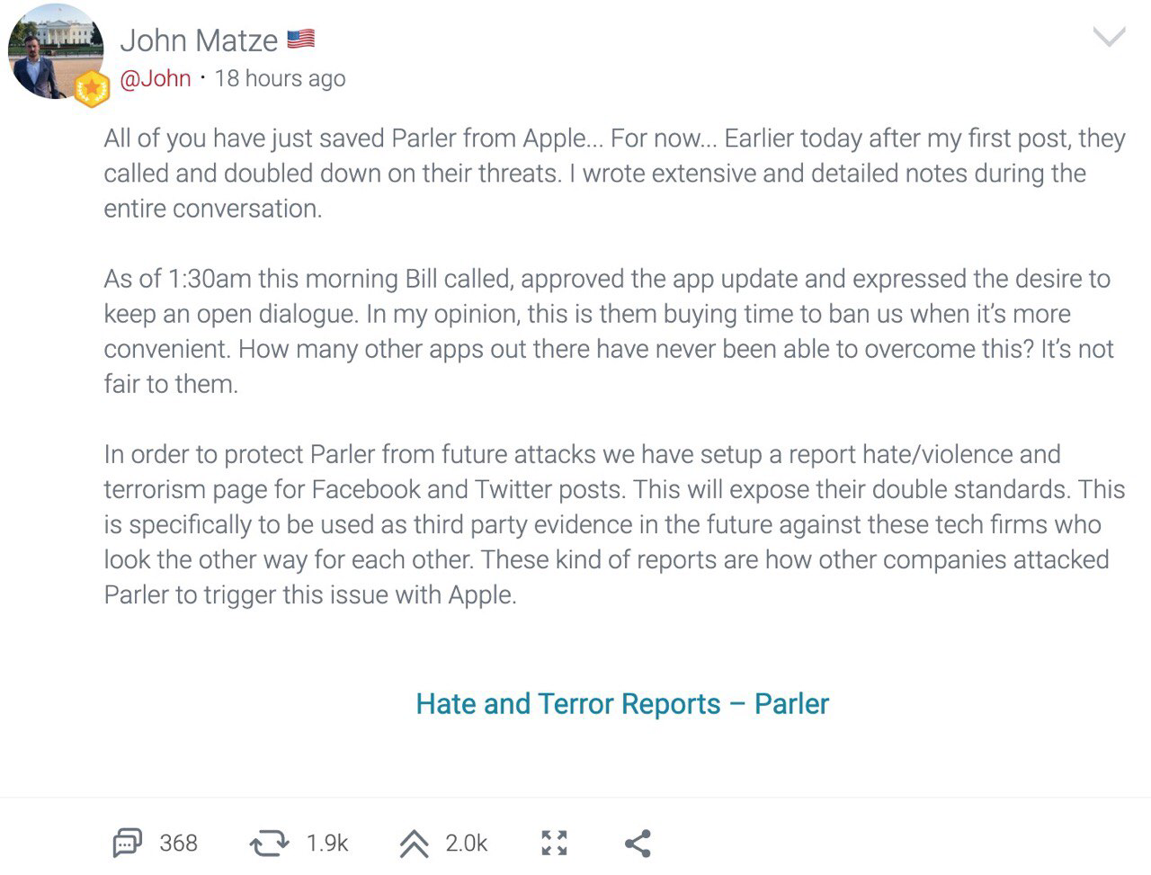 The post from John Matze claiming that Apple will ban Parler when it's more convenient.
