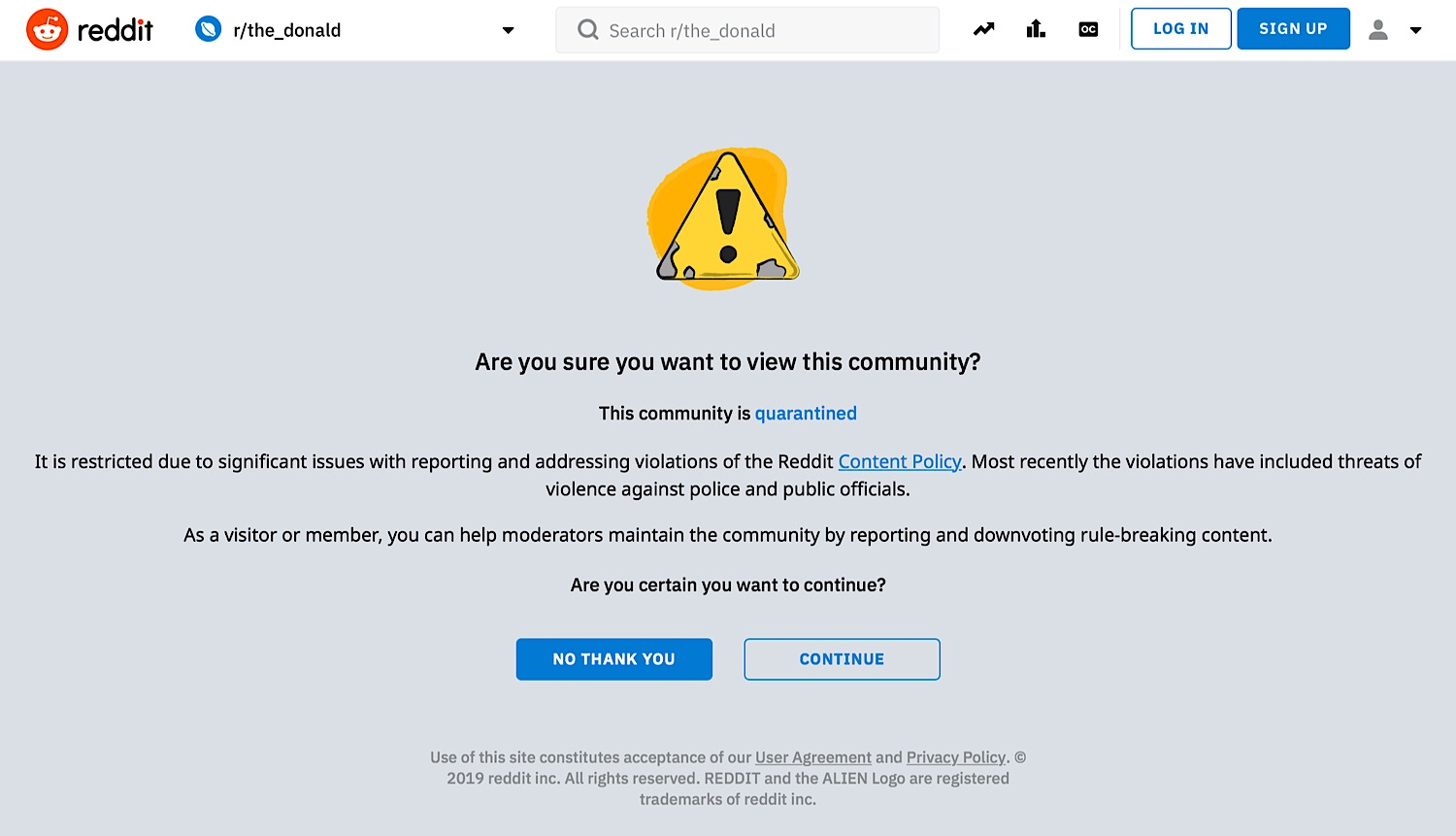 The warning message that appears when users attempt to access The Donald.