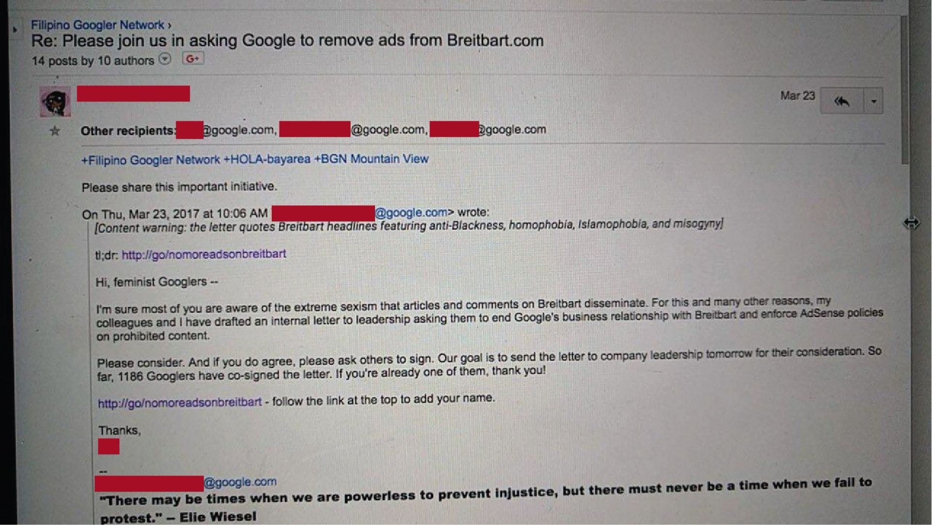 A leaked Google email discussing an internal letter which asks Google leadership to end its relationship with Breitbart.