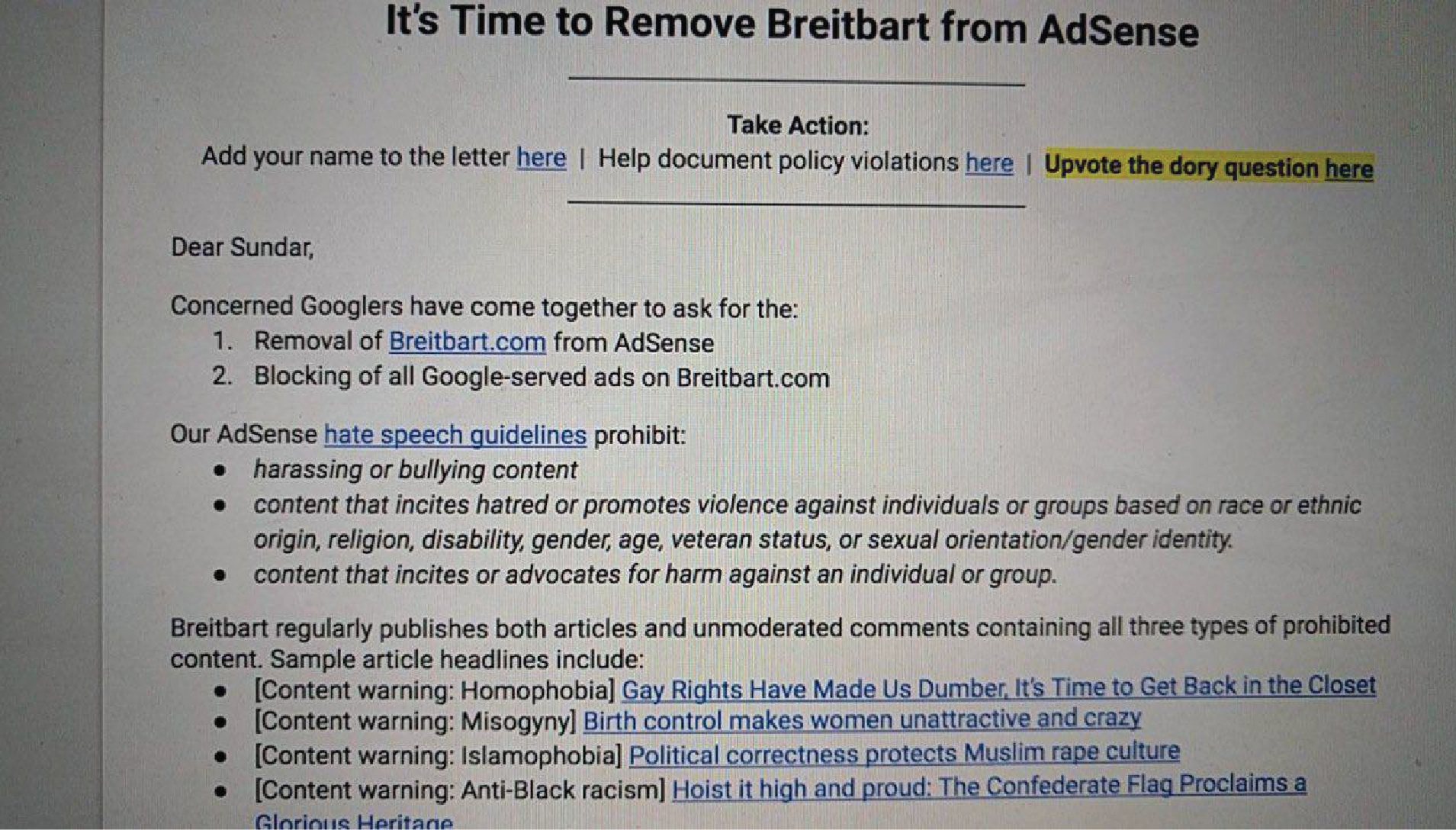 "A leaked Google petition titled ""It's Time to Remove Breitbart from AdSense"" which is addressed to Google CEO Sundar Pichai."