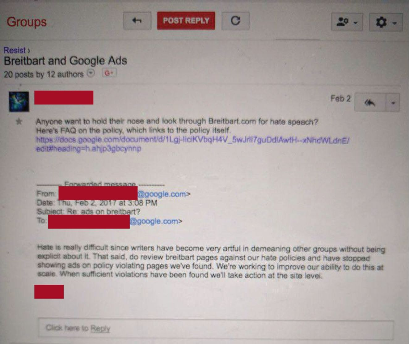 """A leaked Google email discussing looking through Breitbart for """"hate speech."""""""