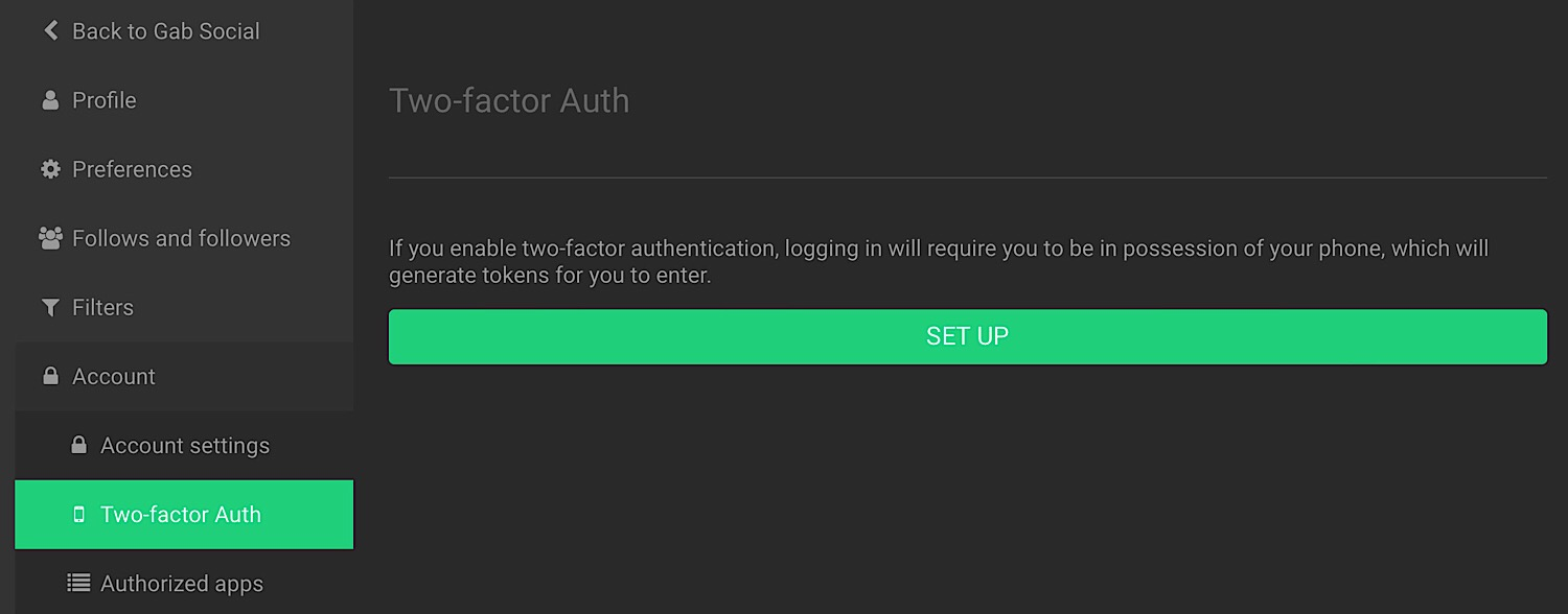 """The """"Two-factor Auth"""" setup menu."""