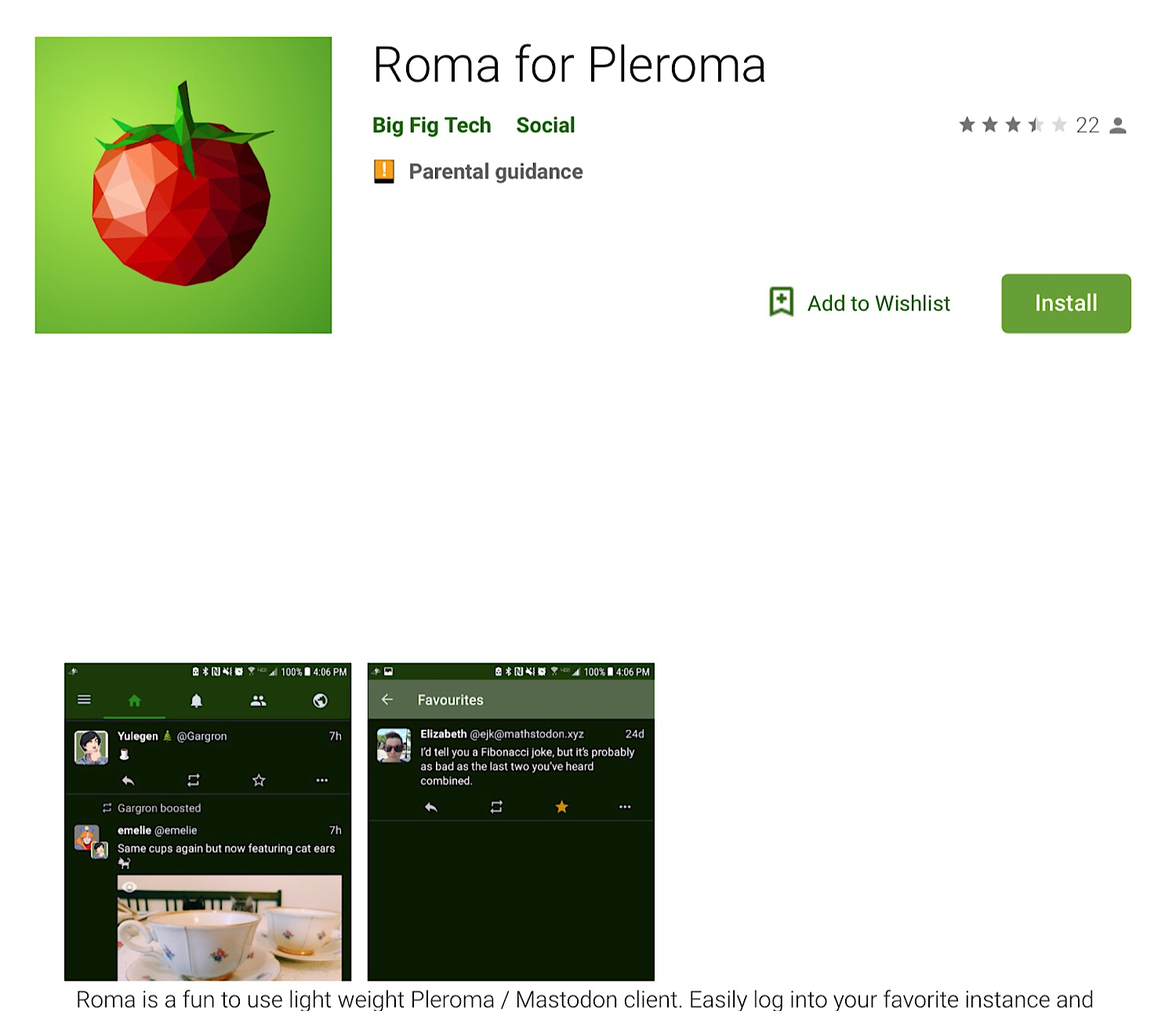 The Roma for Plemora Android app.