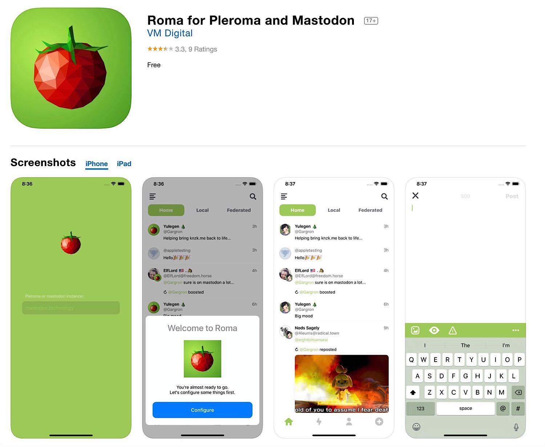 The Roma for Plemora and Mastodon iOS app.