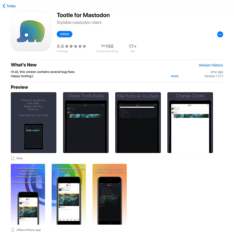 The Tootle for Mastodon iOS app.
