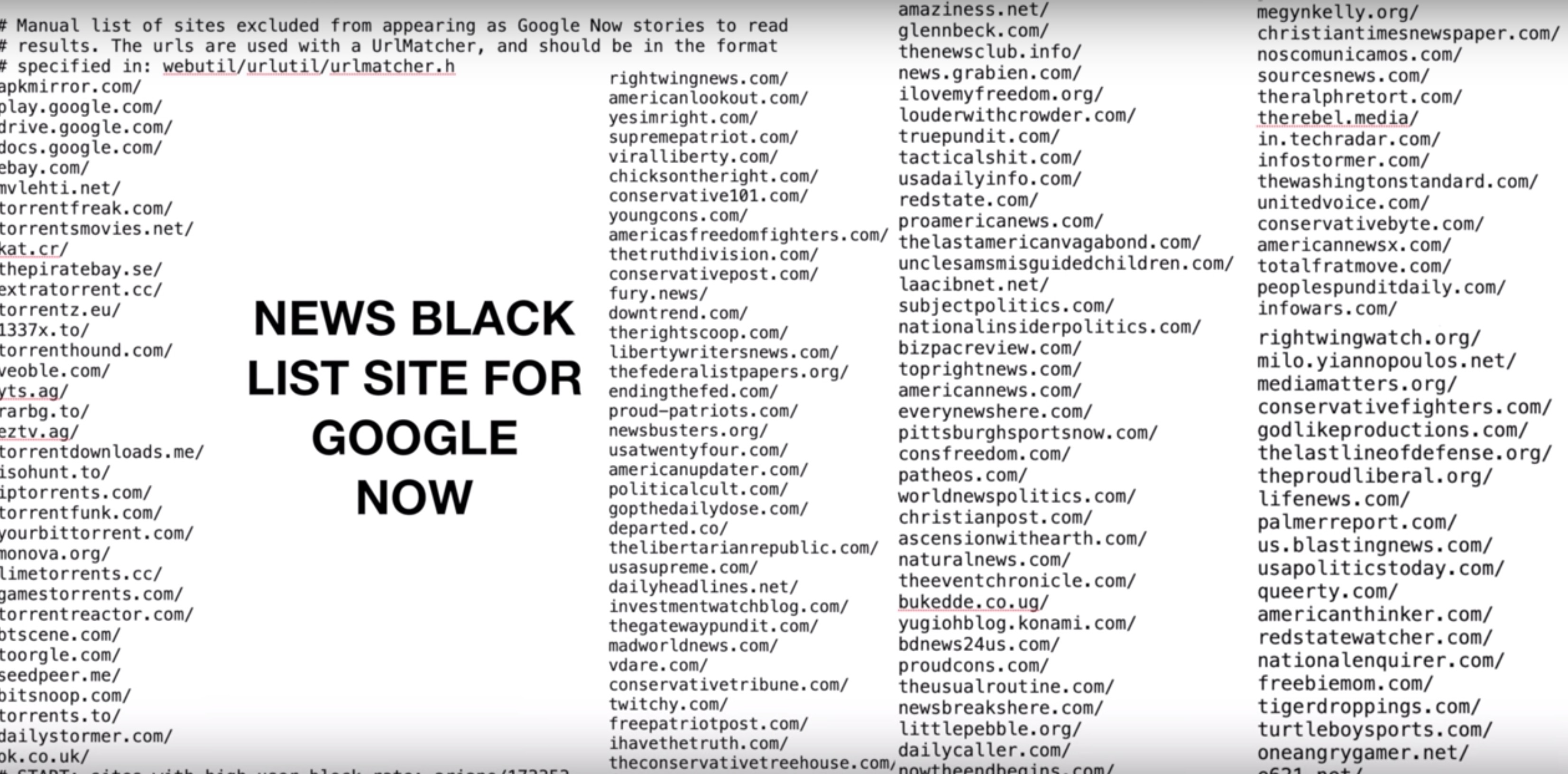Google leak appears to show search blacklists, something