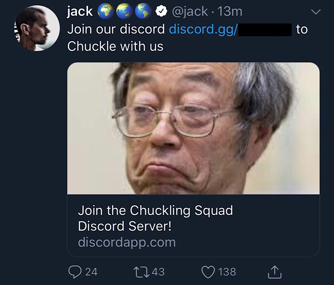 A link from Jack Dorsey's Twitter account to the Chuckling Squad Discord server.