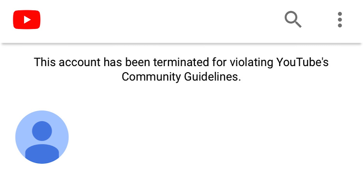 The message saying Soph's YouTube channel has been terminated for violating YouTube's community guidelines.