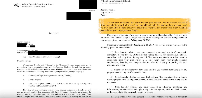 The letter Google sent to Vorhies.