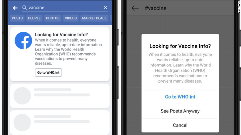 Facebook to redirect searches about vaccines to CDC and WHO