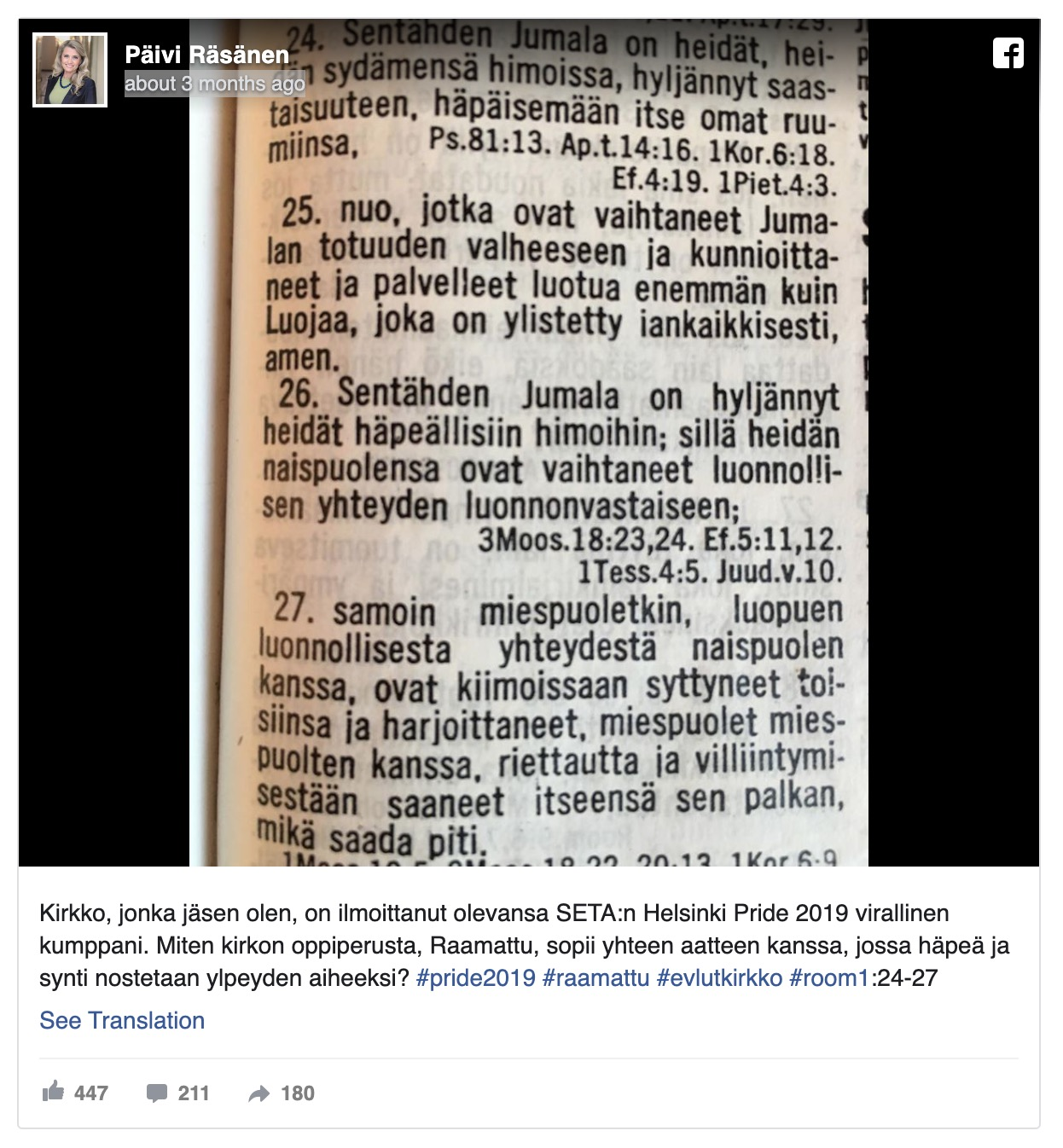 Finnish politician's bible quote on Facebook lands her with