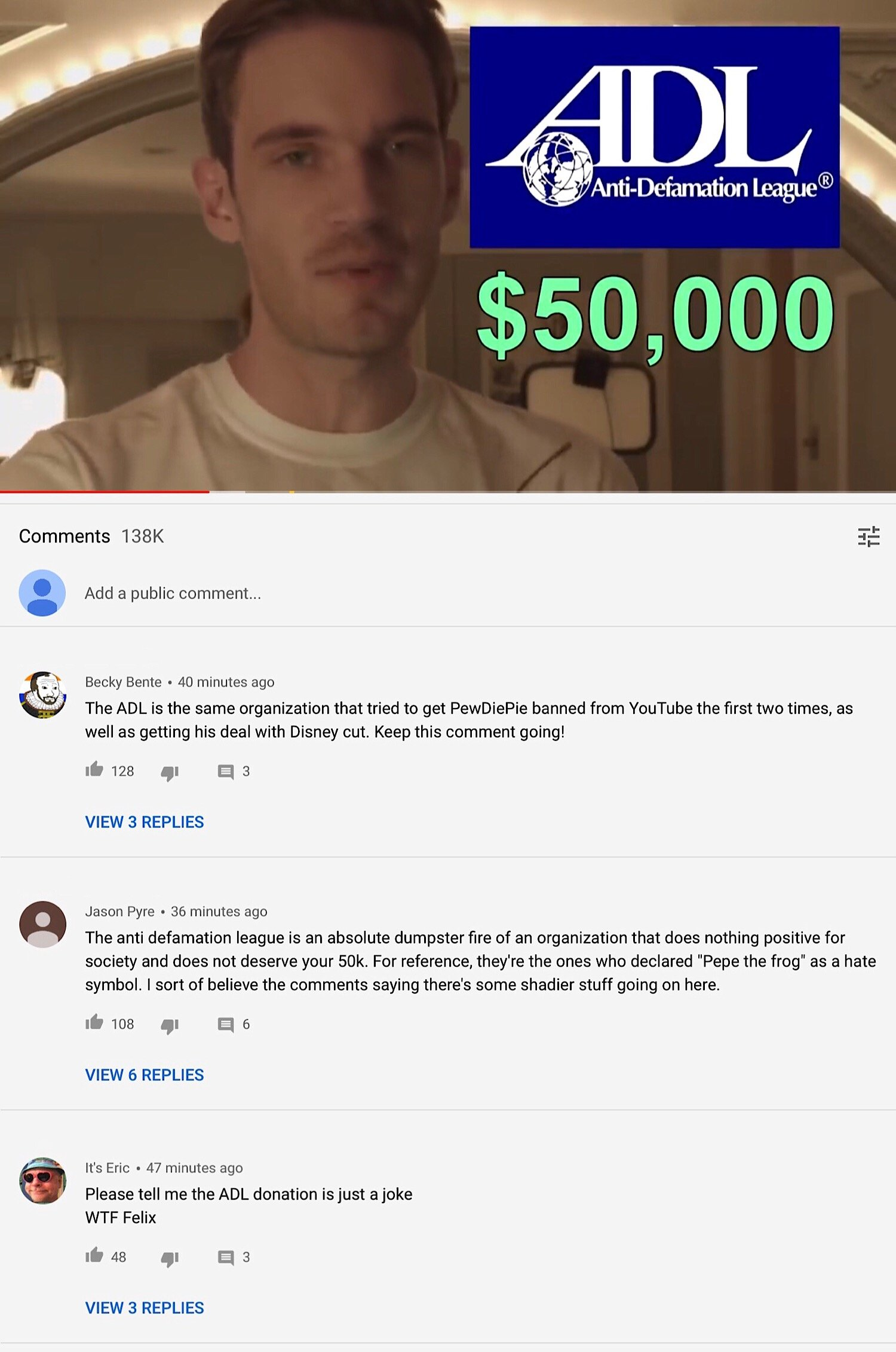 Some of the top comments from PewDiePie's video which criticize the ADL.