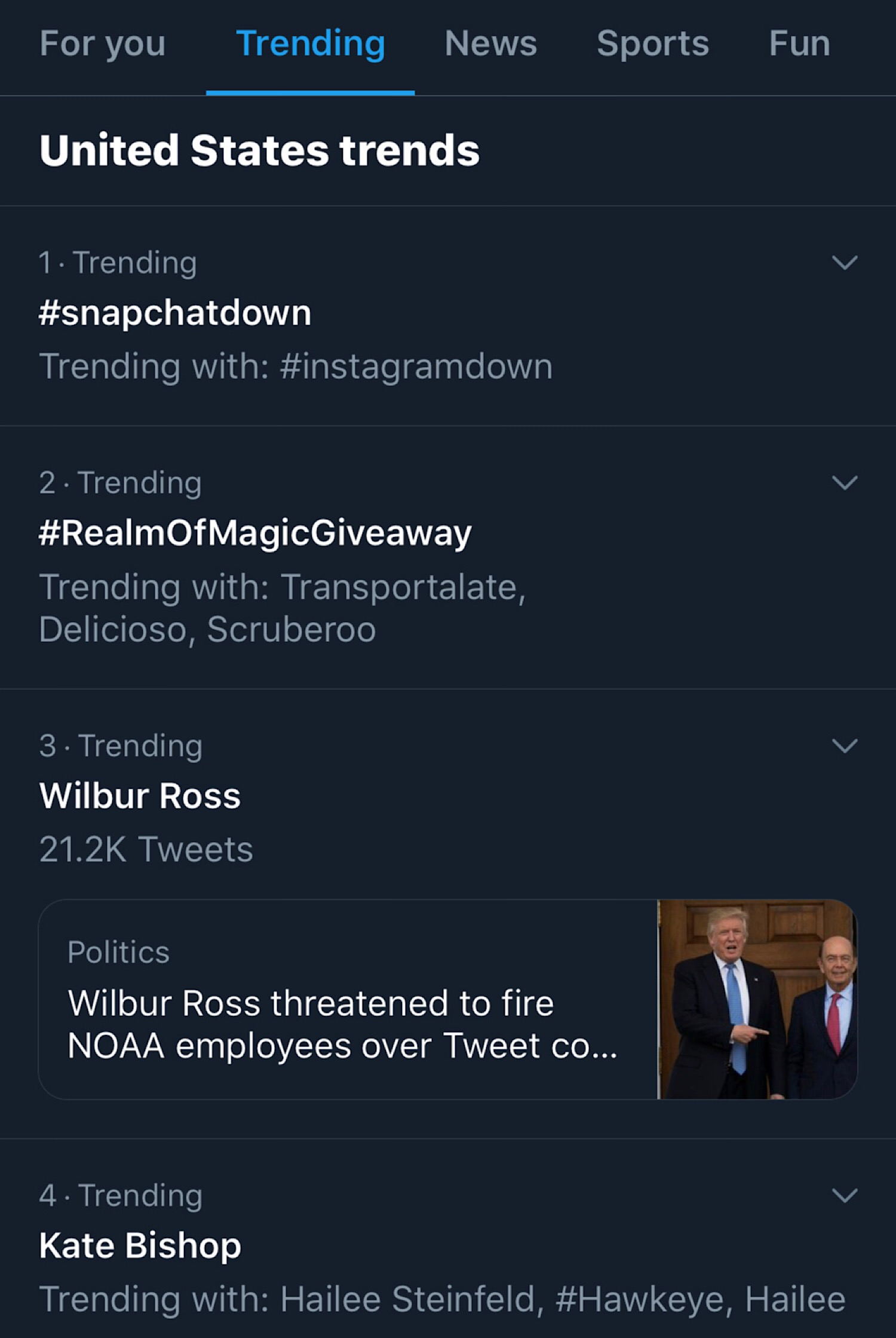 #snapchatdown trending number one on Twitter in the United States.
