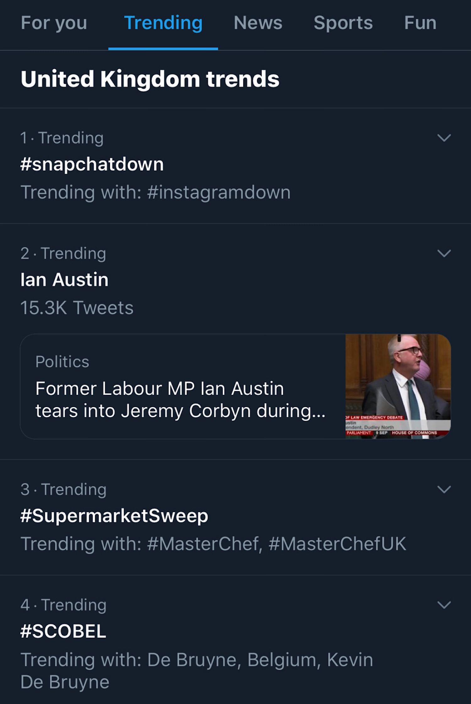 #snapchatdown trending number one on Twitter in the United Kingdom.