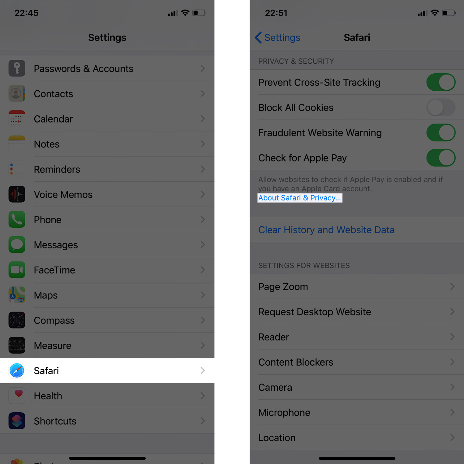 How to navigate to Apple's Safari & Privacy documentation in the iOS settings app.