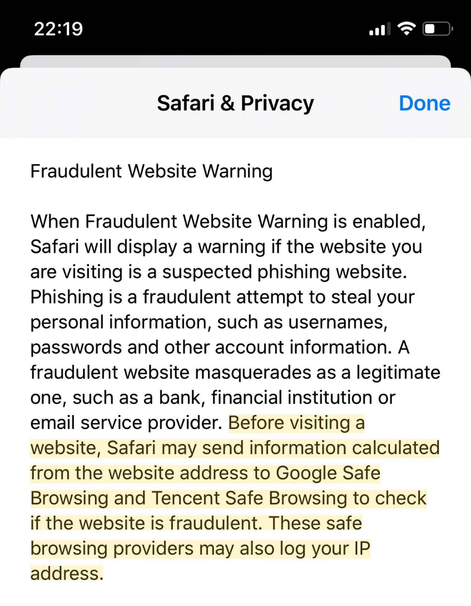 Apple's Safari & Privacy documentation in the iOS settings app.