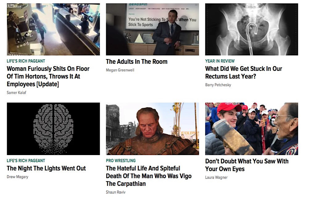 Non-sports stories on Deadspin which had been pinned to the top of the homepage.