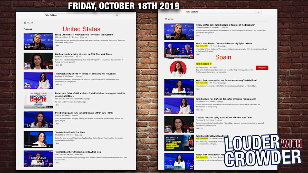 "YouTube search results for ""Tulsi Gabbard"" on Friday (October 18) with a VPN set to the US and then Spain."