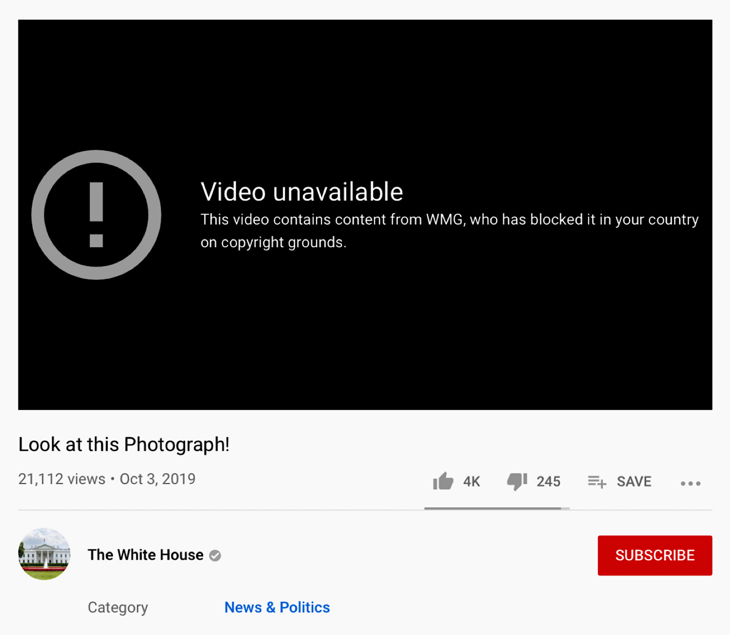 """President Trump's """"Look at this Photograph!"""" YouTube video which has been copyright blocked."""